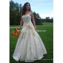 Bordado de alta qualidade em cetim e renda com vestido de festa feito à mão Flower Party vestido de noiva de flor branca com renda vestido sem costura