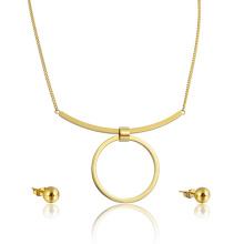 Banhado a ouro 14k único grande hoop pingente colar brinco conjunto de jóias por atacado