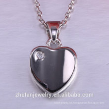 Accesorios del día de las mujeres de San Valentín corazón colgante joyas de plata 925