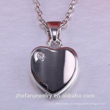 Saint Valentin femmes accessoires coeur pendentif 925 bijoux en argent