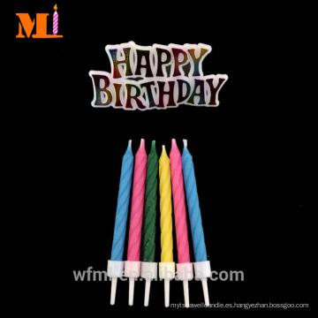 Vendedor recomendado 100% cera de parafina totalmente refinada alegre espiral torta de cumpleaños vela con FELIZ CUMPLEAÑOS Lema