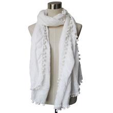 Леди помпонами мода вискоза шарф (YKY4375-2)