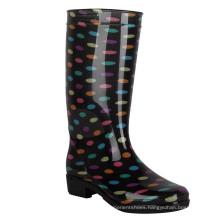 Wholesale Women natural rubber rain boots women gumboots Custom Print Wellington