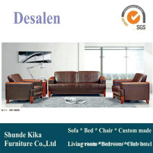 Brown Office Sofa, Leather Sofa, Wood Sofa (8505)