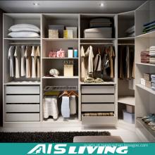 Caminhada branca de madeira do Wardrobe da cor da L-Forma nos armários (AIS-W346)