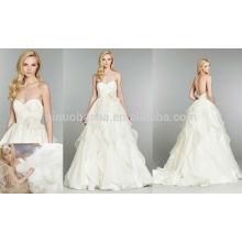Jupe Ruffled avec plis de fleurs Longue robe de mariée en organza 2014 Robe de mariée sans boucle avec décolleté coeur NB0679