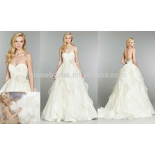 Ruffled Skirt With Flower Pleats Long Organza Bridal Gown 2014 Backless Ball Gown Wedding Dress With Sweetheart Neckline NB0679