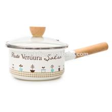 Juego de utensilios de cocina de esmalte de acero al carbono con etiqueta completa y perilla de esmalte