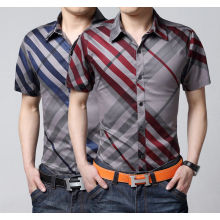 Mens Striped Casual manga curta Slim Stylish Dress Shirts