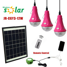 Lâmpadas para casa solar de zonas rurais com 3 lâmpadas de LED e carregador móvel