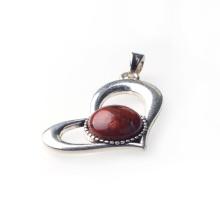 Colgante de corazón de jaspe rojo para hacer collares
