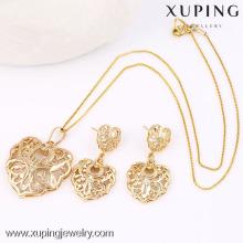 63590-Xuping doce banhado a ouro jóias especial coração conjunto de jóias de forma