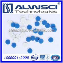 Seguro para agulha 9 mm Dia Azul PTFE branco Silicone septa, pré-fenda