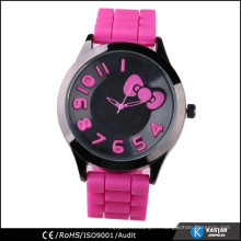 Montre à la main adorable en silicone rose pour fille