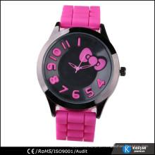 Relógio de mão de silicone rosa encantador para garota