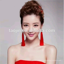 Unique Design Fashion Red Long Hanging Tassel Earrings, Made in Hangzhou