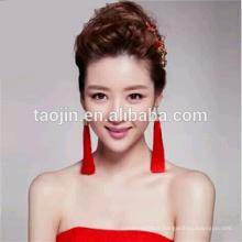 Unique Design Fashion Red Long Hanging Tassel Earrings, Made in Hangzhou