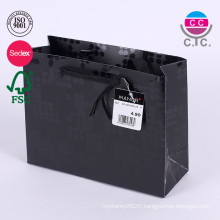 custom folding black reusable paper shopping bags with hadle