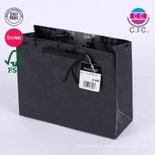 Sacolas de compras de papel reutilizáveis pretas dobráveis personalizadas com hadle