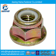 Цветная оцинкованная фланцевая гайка с нейлоновой вставкой из углеродистой стали