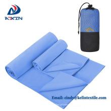 Großhandel billig super saugfähigen personalisierte Mikrofaser Sport Handtuch mit Tasche