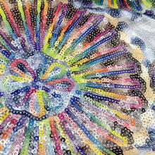 Newest product colorful polyester knit floral embroidery mesh 3mm sequin fabric for dance wear