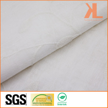 Polyester White Ivf Leaves Embossed Wide Width Inherently Fire Retardant Fireproof Curtain