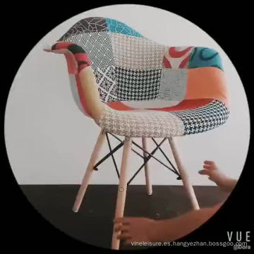 Silla de comedor de tela de interior para muebles de casa 2018 con patas de madera