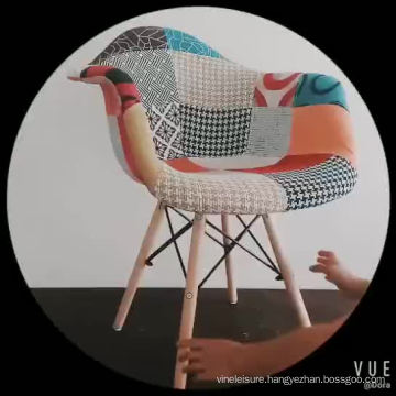 Chinese Upholstered colorful Fabric wood Leg Modern Patchwork Cafe dining Chair