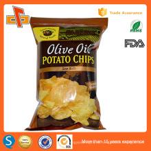 FDA aprobó la impresión personalizada de vuelta sello de plástico patatas fritas bolsa de embalaje