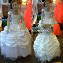 Real photo!New arrival ball gown cap sleeve floor length girl's pageant dresses JFD016