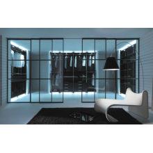 Aluminum Partition Sliding Door With Decorative Glass, Interior Modern Metal Room Divider