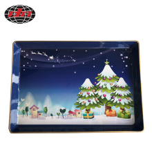 Rectangle Snowy Night Plastic Charger Plate