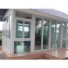 Veka marca UPVC dos pistas ventana deslizante con color gris de vidrio