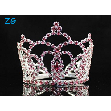Mini Heart Pink Austrian Rhinestone Crystal Full Hair Crown Tiara Bridal