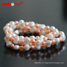 Collier de perles baroques originales de 90cm de long en gros (E130100)