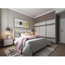 Modern Furniture Melamine Bedroom With Beige PU Cushion