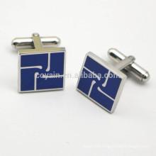 Stainless Steel Square Engraved Enamel Logo Cufflinks