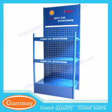 Popular designing metal pegboard essential engine oil display stand for 4S shop