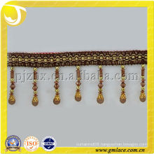 Brown Beads Tassel Fringe High Quality Curtain Trimming with Cylinder-Shaped