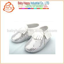 New baby born mocassins sapatos bonitos sliver sequin sapatos de bebê