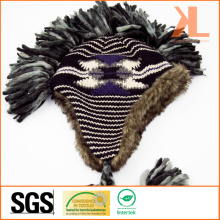 Акриловая и искусственная меховая жаккардовая трикотажная шляпа с ушами и косами