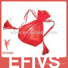 Rose Red Printed Organza Bags With Drawstring