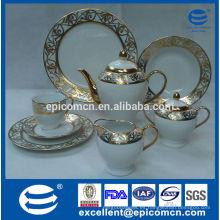 Juego de té de cerámica de lujo plateado oro