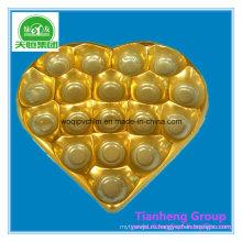 ПВХ золото серебро жесткой пленки Пластиковые вакуумные лоток для упаковки шоколада