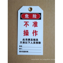 PVC-Verschluss aus Tag aus Aussperrung und Tagout Geräte Sicherheits-Etiketten Etiketten