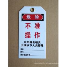 Étiquette de verrouillage en PVC hors étiquette de sécurité