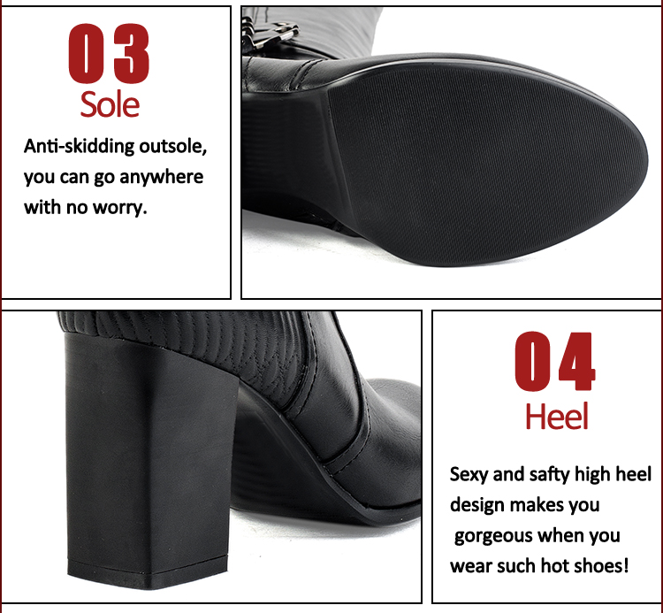 Leisure style women eather thick heel boots