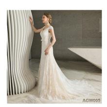 China Custom Made New Long Sleeve Applique beaded diamond wedding reception maxi dress