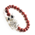Perles rondes Jaspe 8MM Red Stretch Bracelet de pierres précieuses avec alliage de Diamante Owl Piece